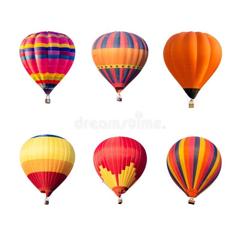 Balões de ar quente coloridos isolados no fundo branco imagem de stock royalty free