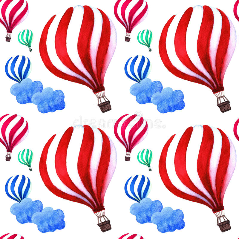 Balões de ar quente com teste padrão bonito das nuvens Projeto brilhante das cores ilustração stock