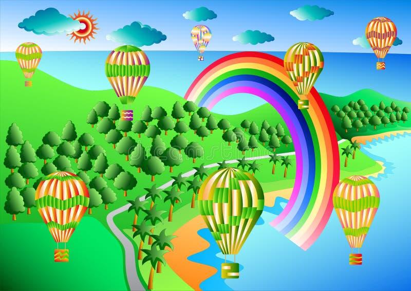 Balões de ar quente em voo imagem de stock royalty free