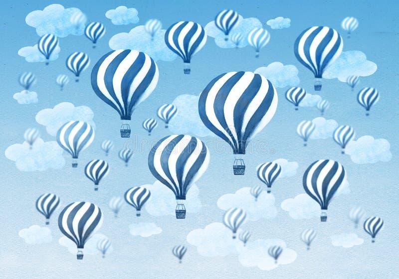 Balões de ar quente que voam durante todo um céu azul nebuloso ilustração royalty free