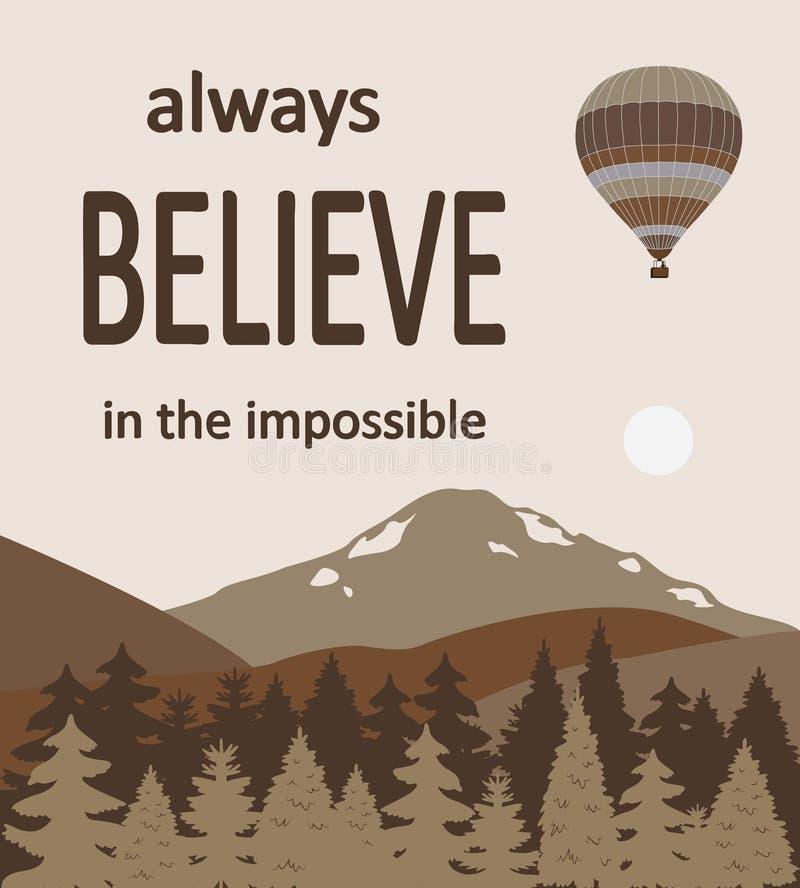 Balões de ar quente sobre as montanhas com as citações ilustração do vetor