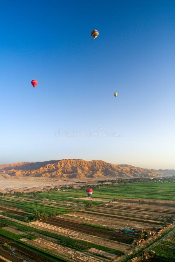 Balões de ar quente sobre o vale dos reis, Egito foto de stock royalty free