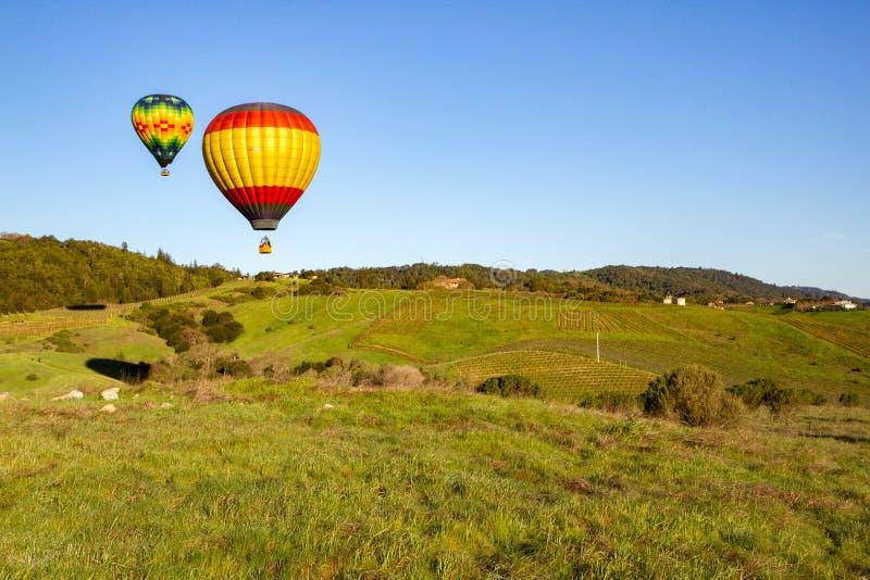 Balões de ar quente sobre a região vinícola de Napa Valley no nascer do sol imagens de stock