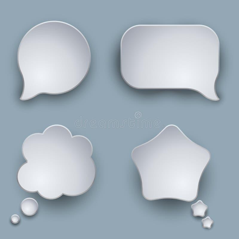 Balões de discurso vazios do branco 3D ilustração royalty free