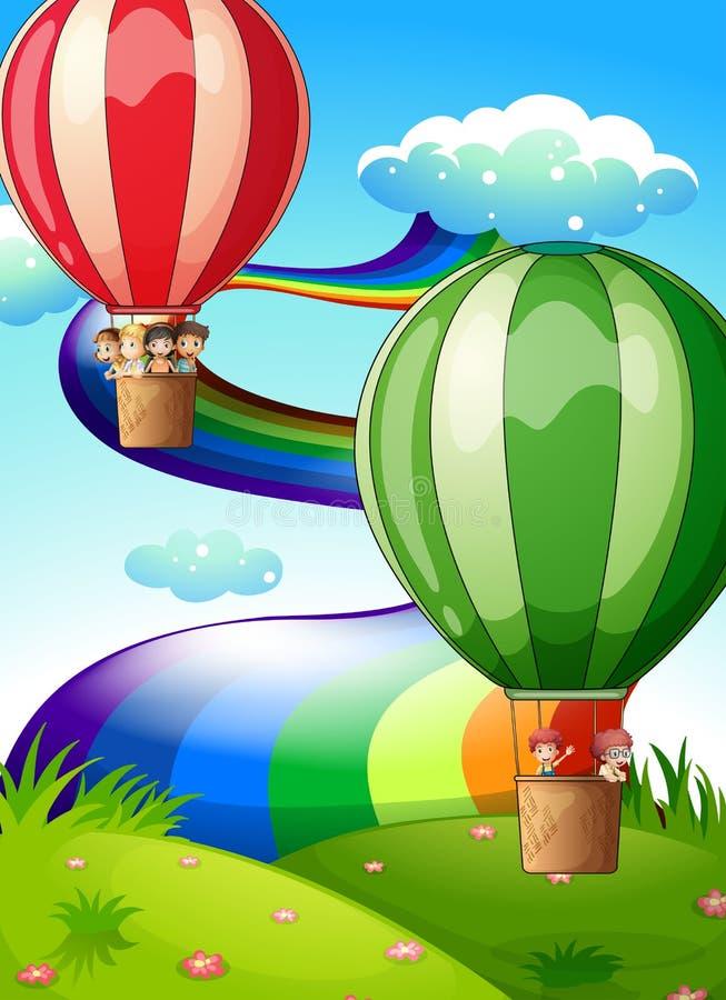 Balões de flutuação com crianças ilustração royalty free