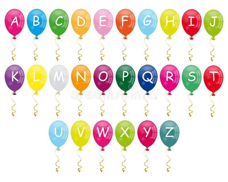 Balões do alfabeto ilustração stock