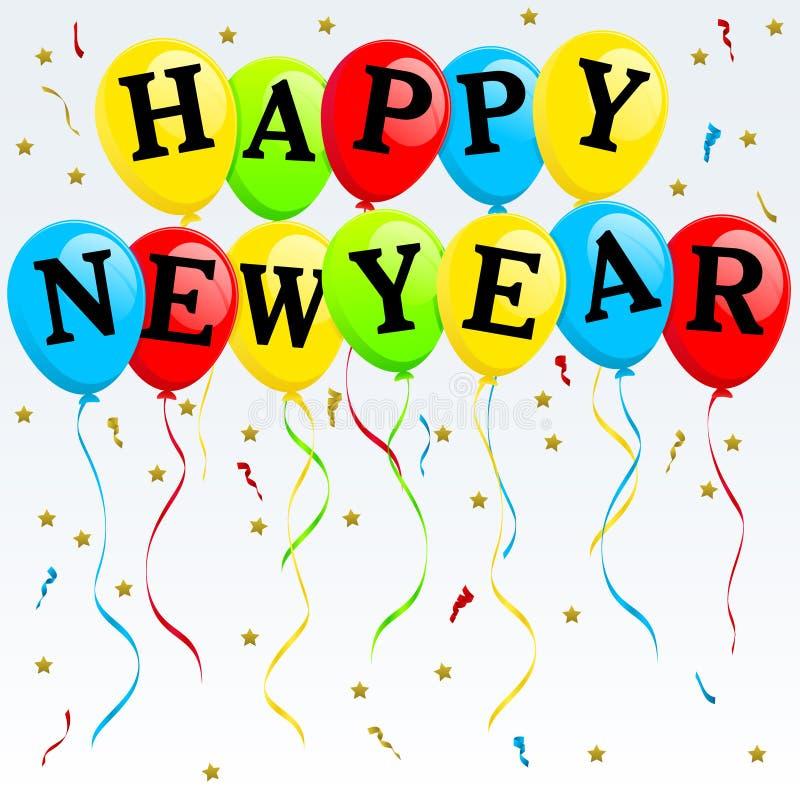 Balões do ano novo feliz ilustração royalty free