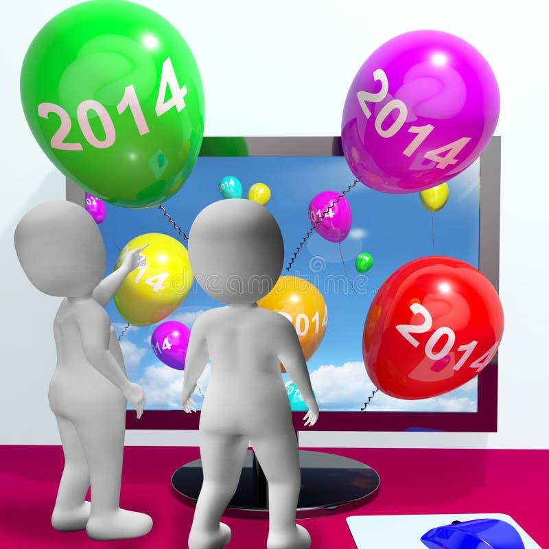 Balões do computador que representa o ano dois mil e Fourte ilustração stock