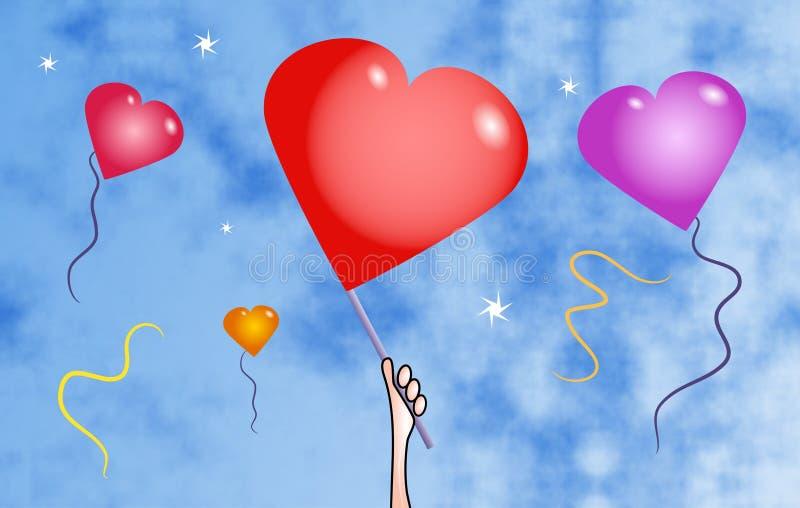 Balões do coração ilustração stock