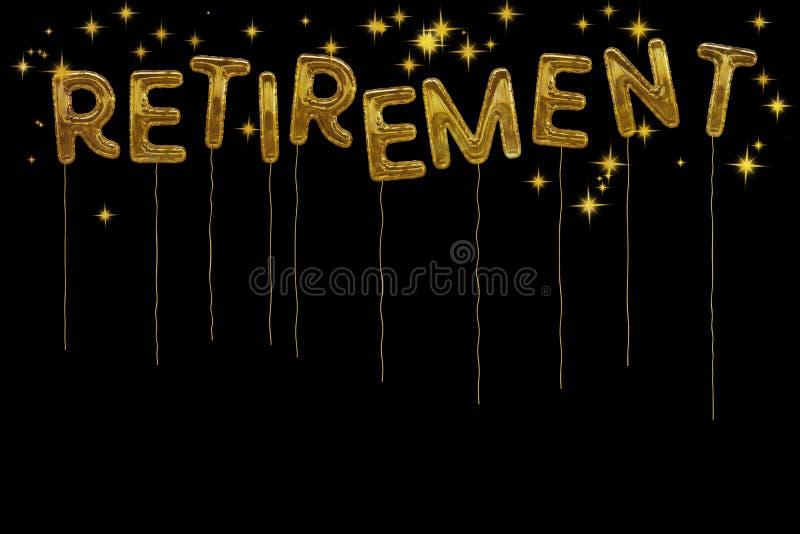 Balões do estilo do partido de aposentadoria da folha de ouro Backgr preto dramático ilustração stock