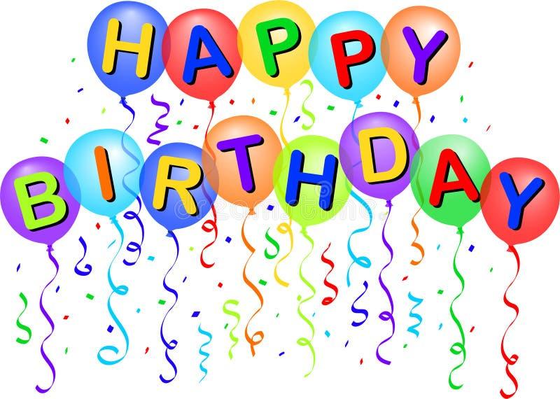 Balões do feliz aniversario/eps ilustração royalty free
