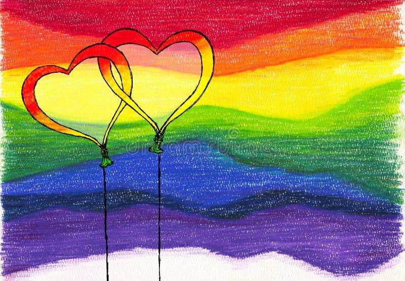 Balões do fundo do arco-íris ilustração do vetor