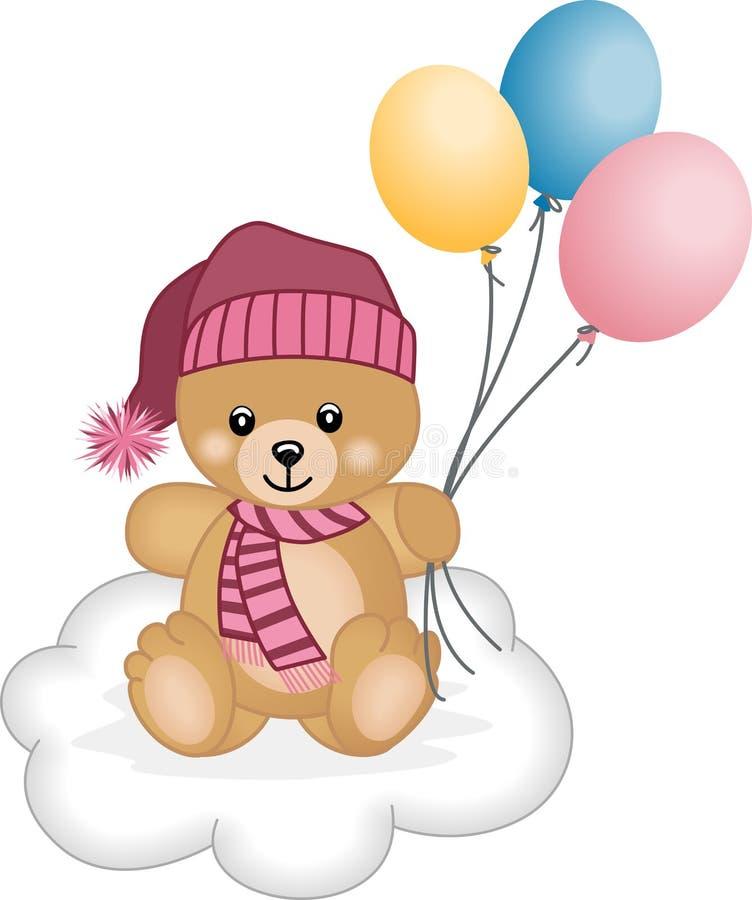 Balões do vôo do urso de peluche do inverno ilustração royalty free