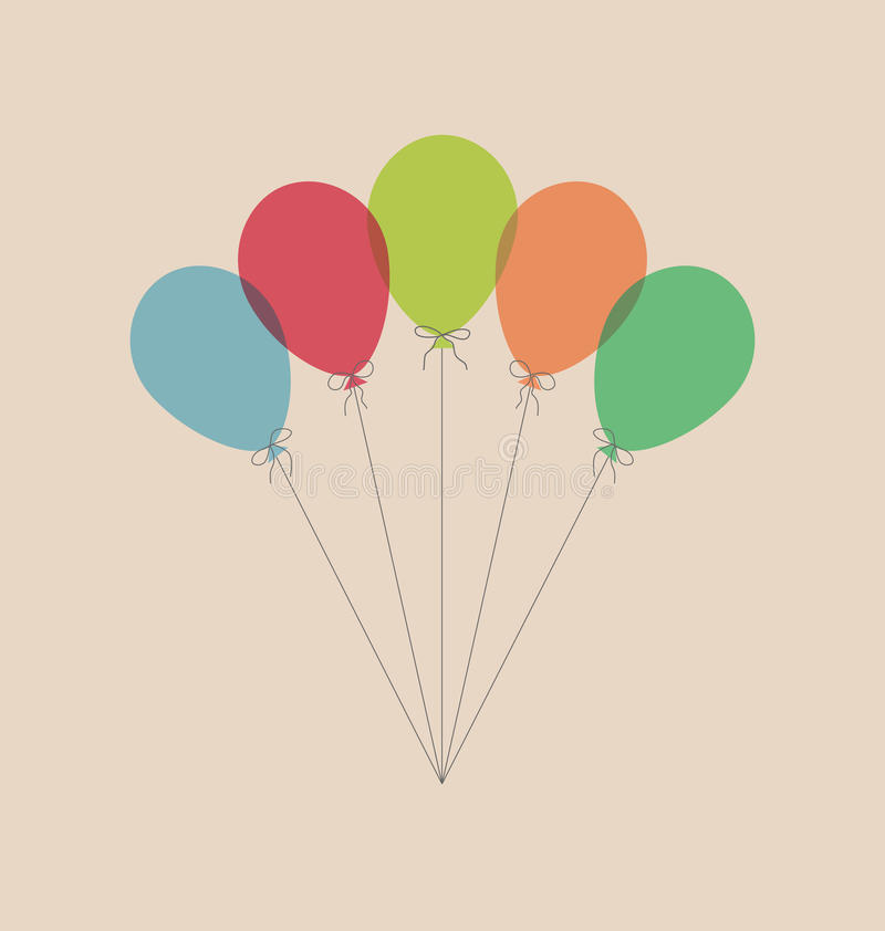 Balões do vintage isolados no bege ilustração stock