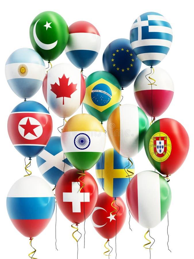 Balões do voo de vários países ilustração 3D ilustração royalty free
