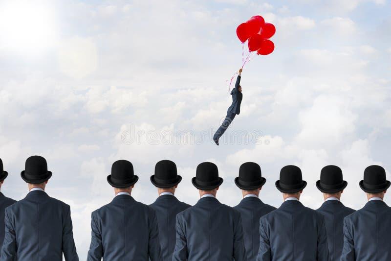 Balões do voo do conceito da mudança do negócio fotos de stock royalty free