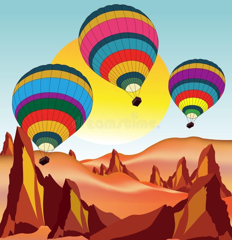 Balões do voo sobre o deserto imagem de stock royalty free