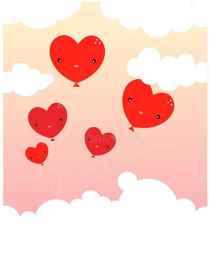 Balões dos corações, dia do velentine ilustração do vetor