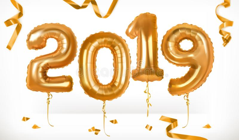 Balões dourados do brinquedo Ano novo feliz 2019 ícone do vetor 3d ilustração stock