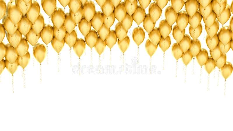 Balões dourados do partido no fundo branco ilustração royalty free