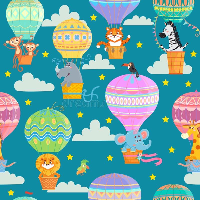 Balões e animais de ar quente coloridos ilustração stock
