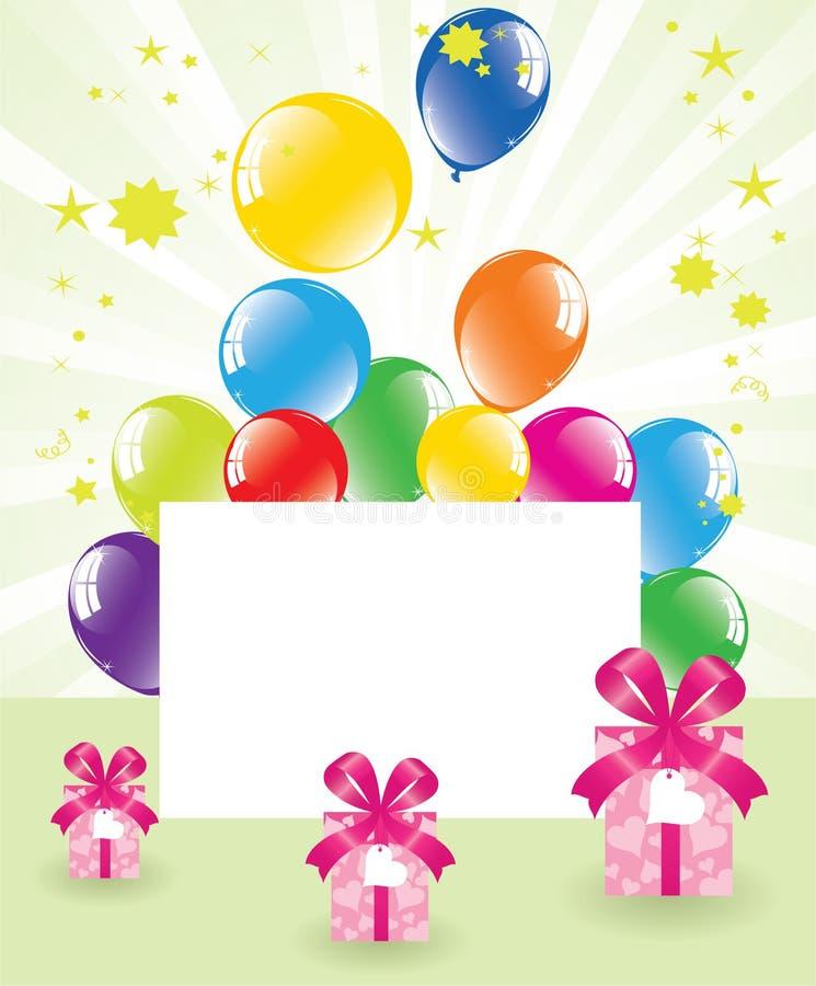 Balões e caixas de presente festivos ilustração do vetor