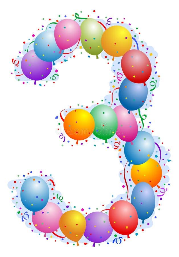 Balões e confetti número 3 ilustração do vetor