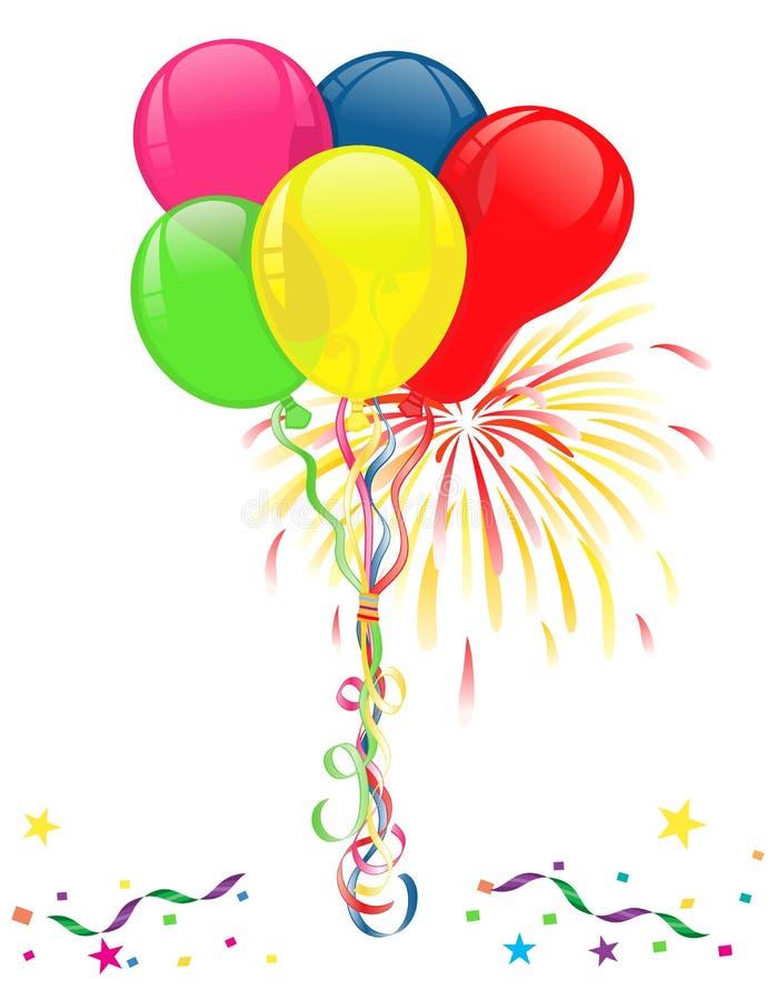 Balões e fogos-de-artifício para celebrações ilustração royalty free