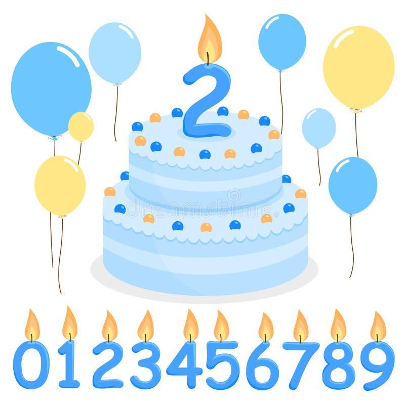 Balões e velas azuis do bolo de aniversário ilustração royalty free