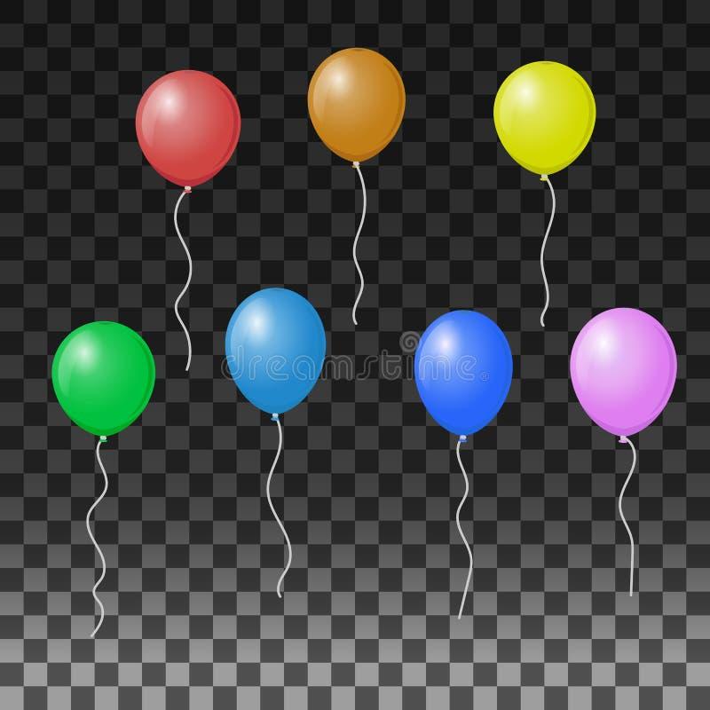 Balões em um fundo transparente Ilustração do vetor para ideias do feriado ilustração stock