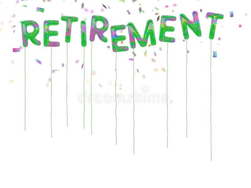 Balões felizes da aposentadoria com confetes de queda ilustração royalty free