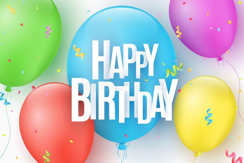 Balões festivos coloridos em um fundo claro A inscrição com um feliz aniversario das letras de papel Explosão dos confetes Gree ilustração do vetor