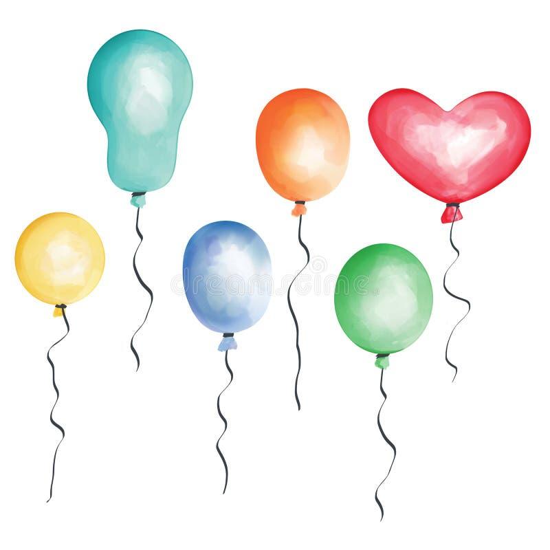 Balões - ilustração no fundo transparente com trajeto de grampeamento imagens de stock