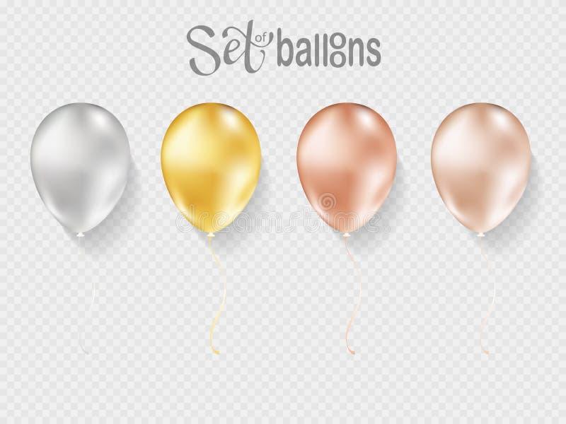 Balões isolados no fundo transparente ilustração do vetor