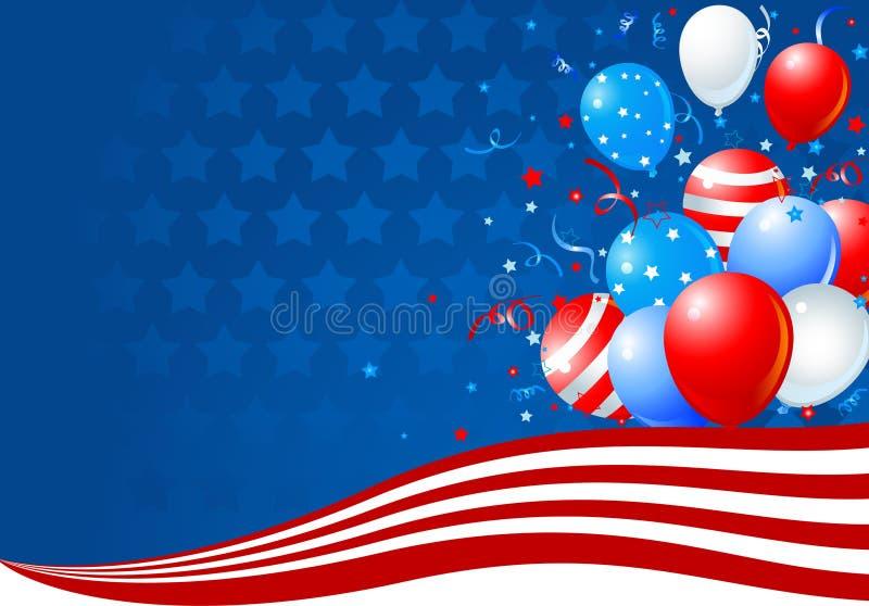 Balões na onda da bandeira americana