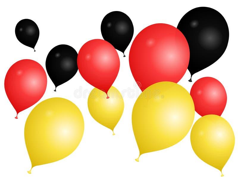 Balões nas cores de Alemanha em um fundo branco ilustração stock