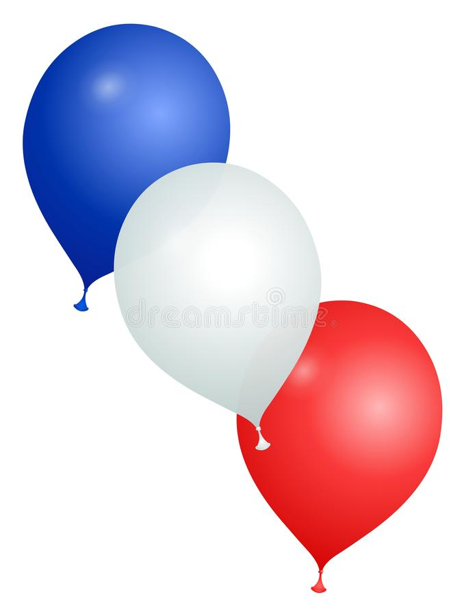 Balões nas cores de França em um fundo branco ilustração royalty free