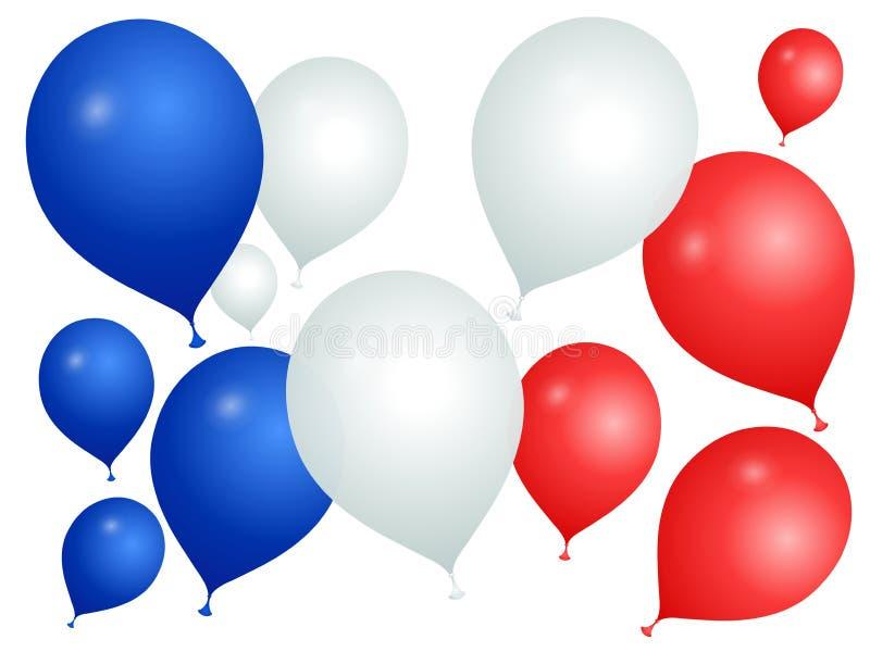 Balões nas cores de França em um fundo branco ilustração do vetor