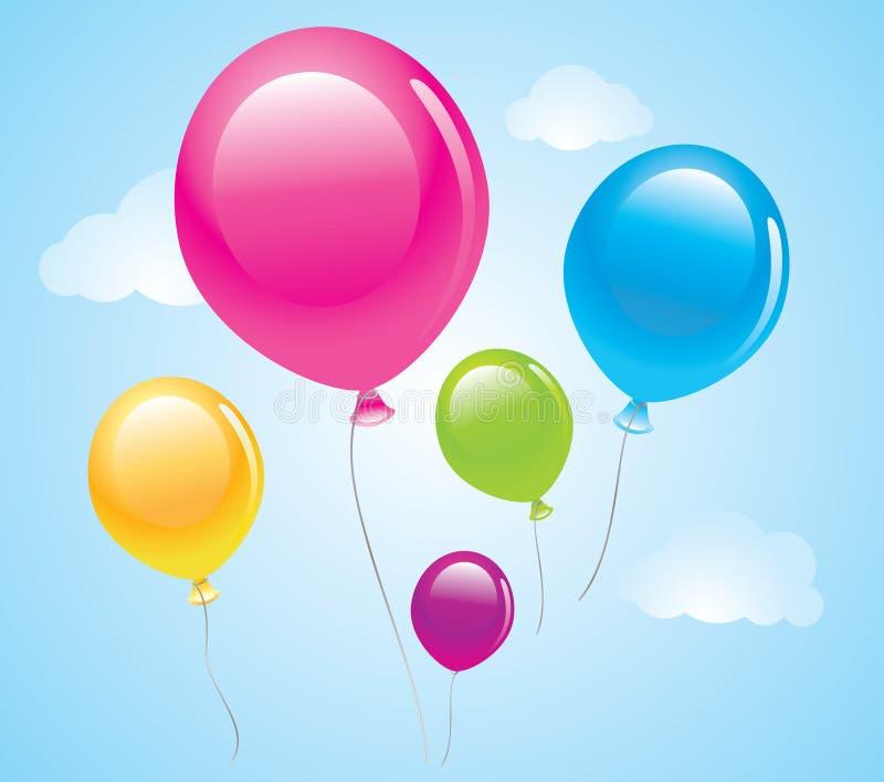 Download Balões no céu ilustração do vetor. Ilustração de cor - 12801673