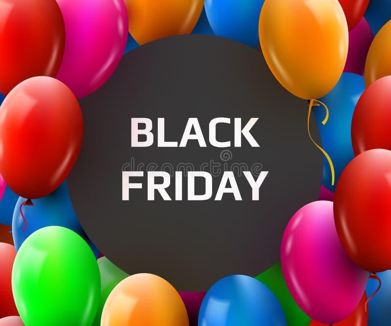 Balões pretos bonitos que voam aleatoriamente sobre o quadro Party o fundo moderno com espaço para o texto, quadro preto, confete ilustração royalty free