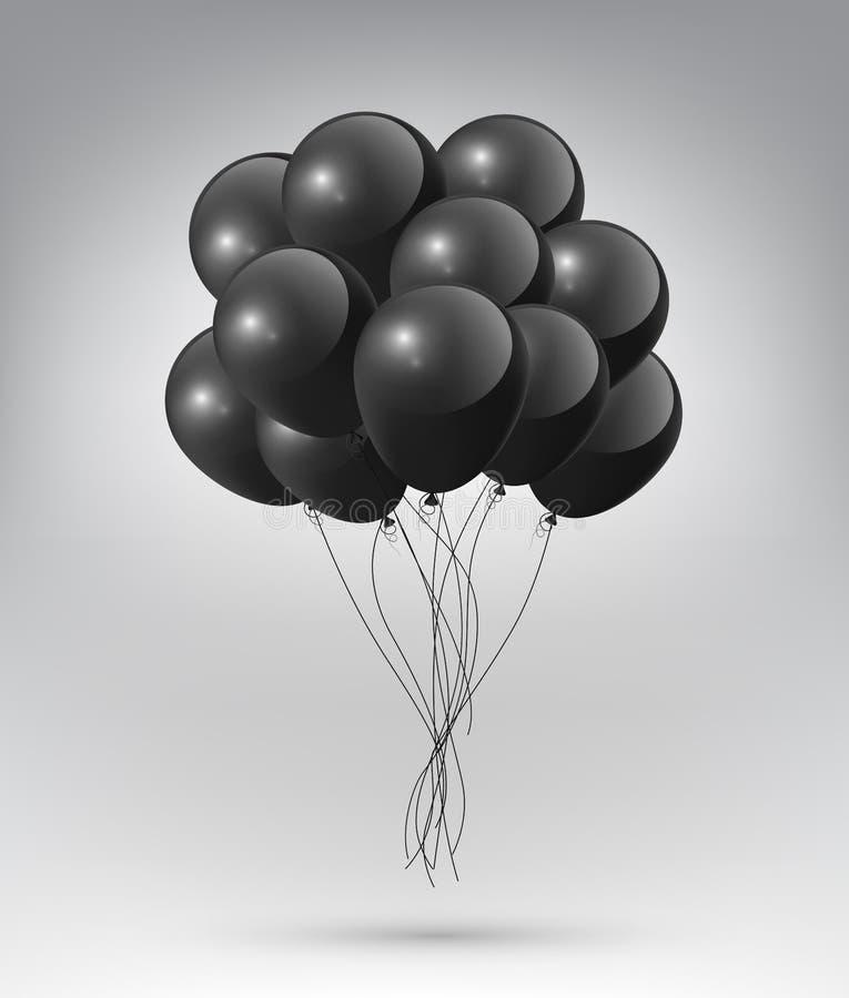 Balões pretos lustrosos realísticos de voo com conceito do partido e da celebração no fundo branco, ilustração do vetor ilustração stock