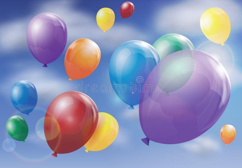 balões que flutuam no céu ilustração stock