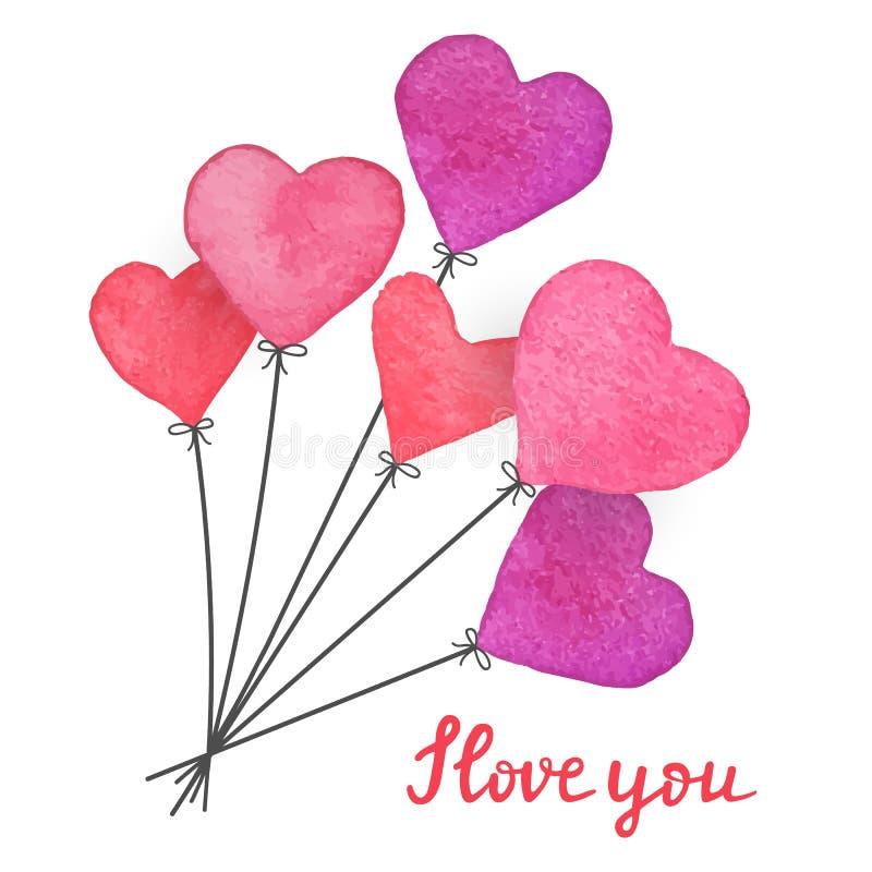 Balões vermelhos da aquarela e cor-de-rosa tirados mão do coração com citações escritas mão eu te amo Cartão feito à mão do dia d ilustração royalty free
