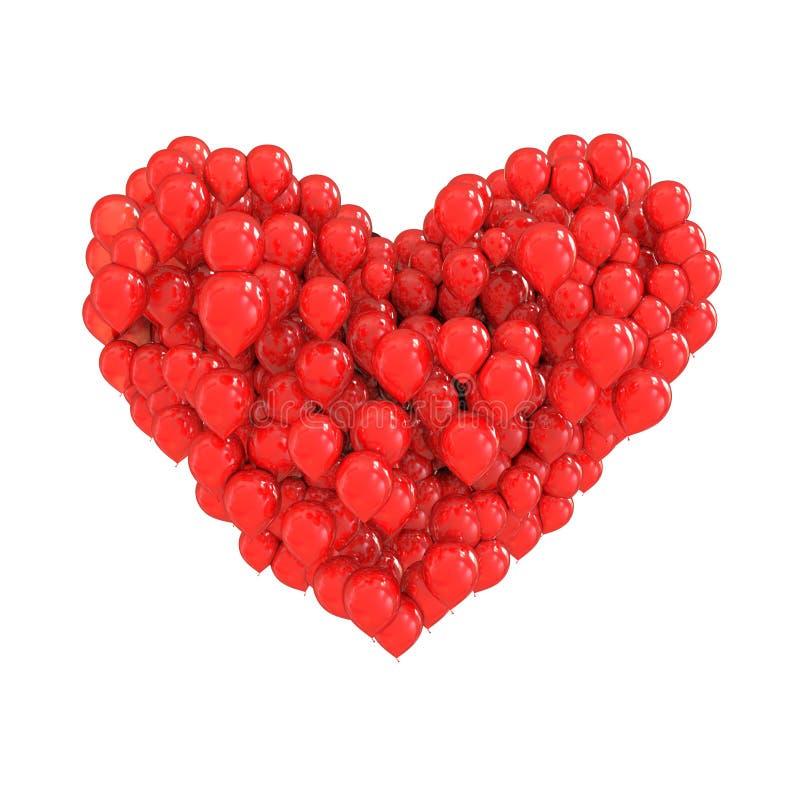 Balões vermelhos que dão forma a um coração ilustração stock