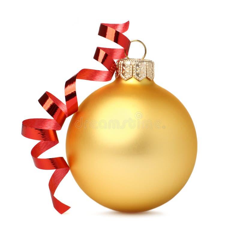 Bal amarillo de la Navidad fotografía de archivo