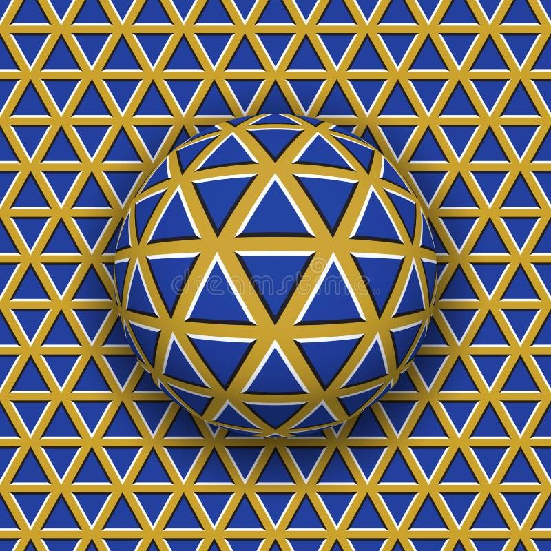 Bal die langs de driehoekenoppervlakte rollen Abstracte vectoroptische illusieillustratie stock illustratie