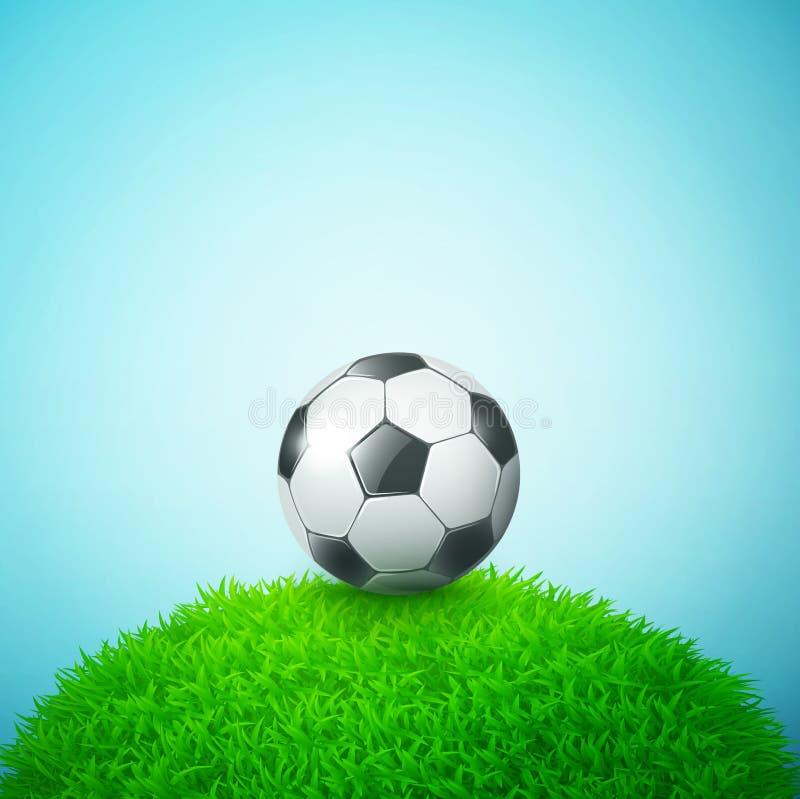 Bal do futebol no campo de grama ilustração do vetor