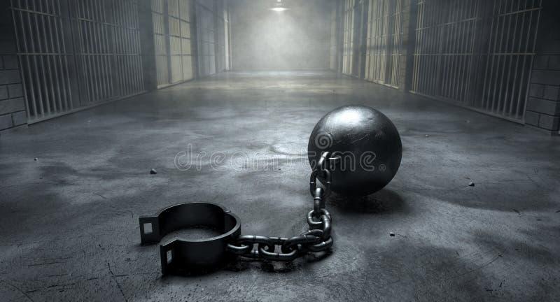 Bal en Ketting in Gevangenis royalty-vrije stock foto's