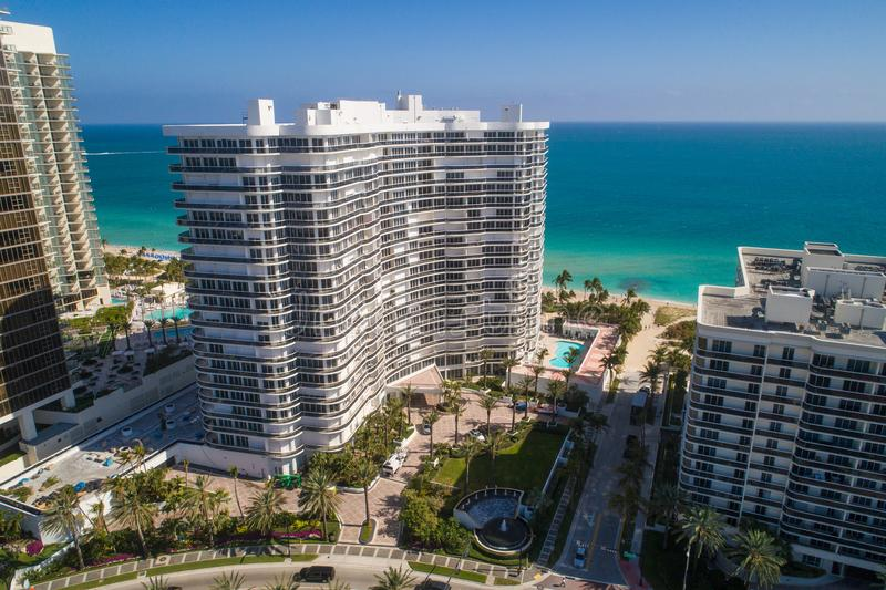 Majestic Towers Condominium Bal Harbour Miami aerial drone photo. BAL HARBOUR, FL, USA - JANUARY 24, 2018: Aerial drone photo Bal Harbour Florida Majestic Towers royalty free stock image
