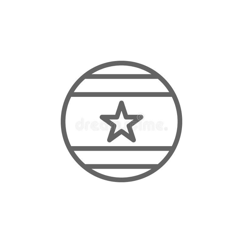 Bal, het pictogram van de V.S. Element van vierde van juli-pictogram Dun lijnpictogram voor websiteontwerp en ontwikkeling, app o royalty-vrije illustratie